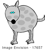 #17657 Gray Dog With Spots Clipart