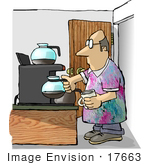 #17663 Caucasian Man Taking A Coffee Break At A Coffee Station Clipart