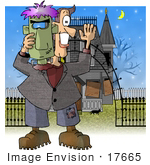 #17665 Middle Aged Man Trick Or Treating As Frankenstein Standing In Front Of A Haunted House On Halloween Clipart