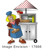 #17666 Female Hot Dog Stand Employee Making Hot Dogs Clipart