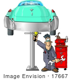 #17667 Auto Mechanic Working on a Classic Car Thats on a Car Lift Clipart by DJArt