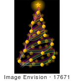 #17671 Spiral Christmas Holiday Tree With Baubles and Star at the Top Clipart by DJArt