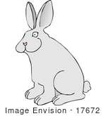 #17672 Alert Gray Bunny Rabbit With a Fluffy Tail Clipart by DJArt