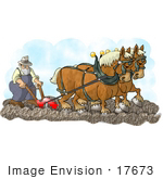 #17673 Clydesdale Worker Horses Pulling A Plow With A Farmer Behind Clipart