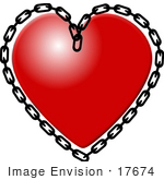 #17674 Red Valentines Day Heart With a Black Chain Clipart by DJArt