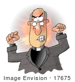 #17675 Angry Preacher Man With Clenched Fists Clipart