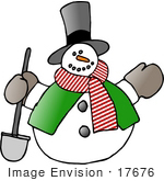 #17676 Frosty The Snowman With A Shovel Clipart