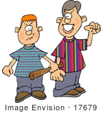 #17679 Two Young Bully Boys Looking For Trouble Clipart