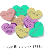 #17681 Worded Colorful Valentines Day Candy Hearts Clipart