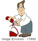 #17682 Caucasian Man Cutting The Cord On A Red Telephone Clipart