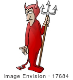 #17684 Devil Man From Hell Holding A Pitchfork Clipart