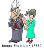 #17685 Worker Man Scared As A Nurse Prepares To Give Him A Flu Shot Clipart