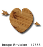 #17686 Arrow Through A Wooden Heart Clipart