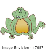 #17687 Silly Green Frog With Buck Teeth Jumping Clipart