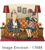 #17688 Life Insurance Agent Discussing A Policy With A House Wife Clipart