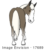 #17689 Gray Horse With White Hair Looking Back At Its Butt Clipart