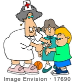 #17690 School Nurse Woman Putting A Bandaid On A Student Clipart