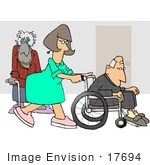 #17694 Nurse In A Hospital Pushing A Senior Man In A Wheelchair An Old Lady Using A Cane In The Background Clipart