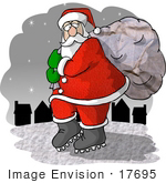 #17695 St Nicholas Tip Toeing On Snow Carrying A Heavy Sack By Houses Clipart