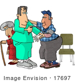 #17697 Male Nurse Taking A Man'S Blood Pressure Reading In A Hospital A Senior Woman With A Cane In The Background Clipart