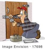 #17698 Locksmith Man Fixing Or Setting A Padlock On A Wodden Gate Clipart