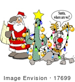 #17699 Santa And Rudolph The Red Nosed Reindeer Lost And Tangled In A Desert By A Cactus Clipart