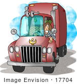 #17704 Female Trucker Driving A Big Rig Clipart