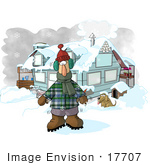 #17707 Man Outside A Hosue Standing In Winter Clothing Freezing Cold In The Winter Snow With A Dog Greenhouse And Hot Chocolate Stand Clipart