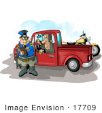 #17709 Motorcycle Cop Man Giving A Pickup Truck Driver A Traffic Ticket Clipart