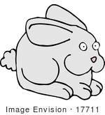 #17711 Bunny Rabbit With A Fluffy Tail Clipart