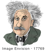 #17769 Caricature Of Albert Einstein With Crazy Hair Clipart