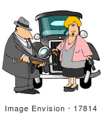 #17814 Bonnie Parker And Clyde Barrow With Guns Standing In Front Of A Getaway Car Bonnie And Clyde Clipart