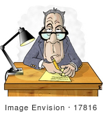 #17816 Old Manager Man Taking Notes During A Job Interview Clipart