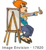 #17820 Artist Man Painting A Smiley Face And Giving The Thumbs Up Clipart