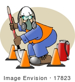 #17823 Construction Worker Man With Safty Gear Cones Fire Extinguisher Respirator Mask And Hardhat Clipart