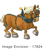 #17824 Clydesdale Draft Horse Wearing A Harness Clipart