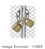 #17825 Wire Gate Locked And Secured With Golden Padlocks Clipart