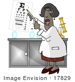 #17829 Female Optometrist Eye Doctor Giving A Vision Test With An Eye Chart Clipart