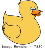 #17830 Toy Rubber Ducky With Blue Eyes Clipart