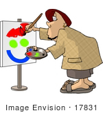 #17831 Modern Artist Man Painting A Smiley Face Clipart