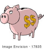 #17835 Pink Curly Tailed Piggy Bank With A Coin Slot And Dollar Signs Clipart