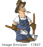 #17837 Farmer Man In Overalls Carrying Two Shovels And Chewing On Straw Or Hay Clipart