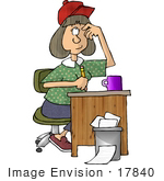 #17840 Young Caucasian Author Woman With Writers Block Clipart