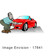 #17841 Car Insurance Man Investing A Claim On A Wrecked Sports Car Clipart