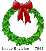 #17843 Holiday Christmas Wreath Decoration Made of Holly With Red Berries and a Bow Clipart by DJArt