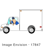 #17847 Man Driving a White Moving Truck in Reverse Clipart by DJArt