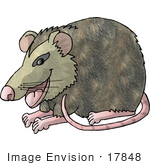 #17848 One Rat With Pink Feet, Nose, Ears and Tail Clipart by DJArt