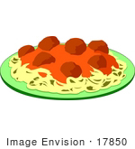 #17850 Italian Food Meal of Spaghetti and Meatballs Topped With Marinara Sauce Clipart by DJArt