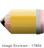 #17852 Stubby Wooden School Pencil With A Sharp Lead Tip And Short Eraser End Clipart