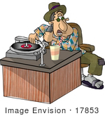 #17853 Disc Jockey (Dj) Man Playing A Vinyl Record And Talking Into A Microphone Clipart